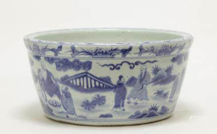 A BLUE AND WHITE BASIN, WANLI MARK