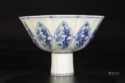 A BLUE AND WHITE HIGH-STEM CUP, XUANDE MARK