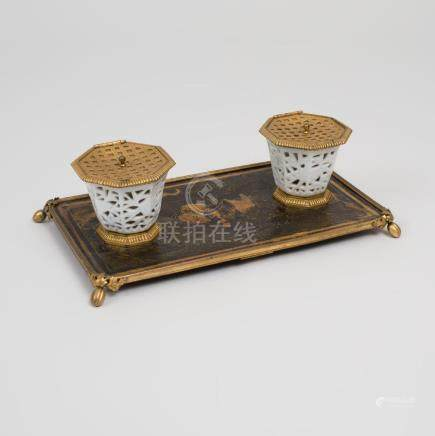 Louis XVI Gilt-Bronze-Mounted Lacquer and Porcelain