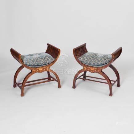 Pair of Edwardian Inlaid Mahogany Curule-Form Stools