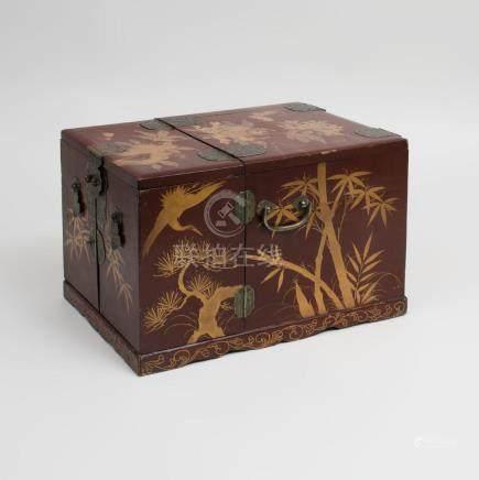 Japanese Gilt-Metal-Mounted Brown Lacquer Makeup Box