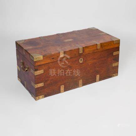 Chinese Export Brass-Mounted Teak Trunk