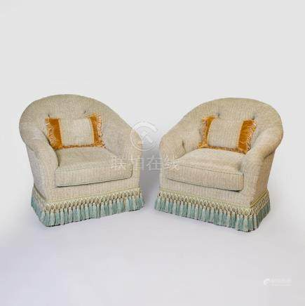 Pair of Green Chenile Tufted Upholstered Tub Chairs