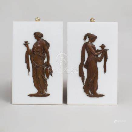 Pair of Neoclassical Style Marble and Bronze Plaques