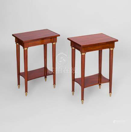 Pair of Directoire Style Gilt-Metal-Mounted Mahogany