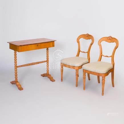 Pair of Biedermeier Birch Side Chairs and a Biedermeier