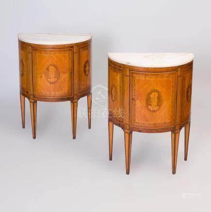 Pair of Italian Neoclassical Style Fruitwood Parquetry