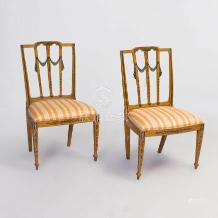 Pair of George III Painted Side Chairs