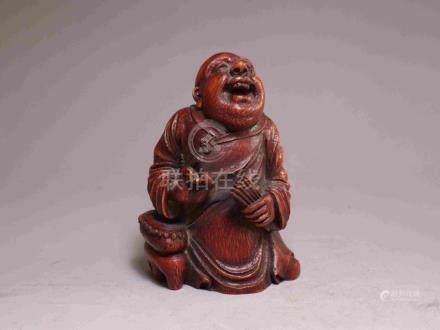 BOXWOOD LAUGHING BUDDHA STATUE