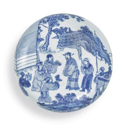 A RARE BLUE AND WHITE SEAL PASTE BOX AND COVERQing Dynasty, Kangxi Period