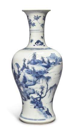 A FINE BLUE AND WHITE 'LANDSCAPE' VASEQing Dynasty, Kangxi Period