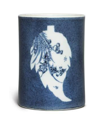 AN INSCRIBED POWDER-BLUE-GLAZED 'FLORAL' BRUSHPOTQing Dynasty, Kangxi Period