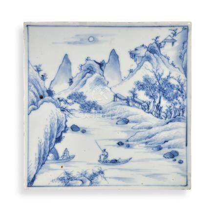 A BLUE AND WHITE 'LANDSCAPE' PLAQUEQing Dynasty, Kangxi Period