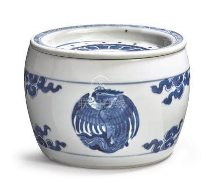A BLUE AND WHITE 'PHOENIX' CRICKET CAGE AND COVERQing Dynasty, Kangxi Period