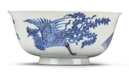 A BLUE AND WHITE ANHUA-DECORATED 'DRAGON AND PHOENIX' BOWLQing Dynasty, Kangxi Period