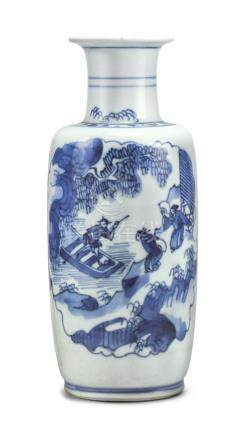 A FINE AND SMALL BLUE AND WHITE 'FIGURAL' ROULEAU VASEQing Dynasty, Kangxi Period