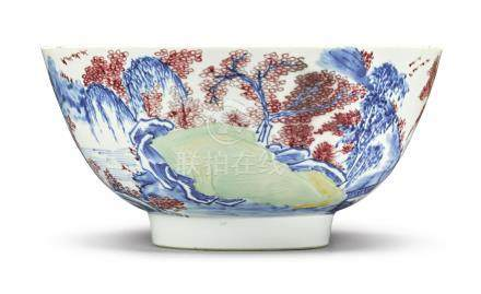 AN UNDERGLAZE-BLUE, COPPER-RED AND CELADON-GLAZED BOWLKangxi Mark and Period
