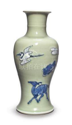 A CELADON-GROUND BLUE AND WHITE AND COPPER-RED 'LONGEVITY' VASEQing Dynasty, Kangxi Period