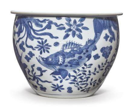 A BLUE AND WHITE 'FISH' JARDINIEREQing Dynasty, Kangxi Period