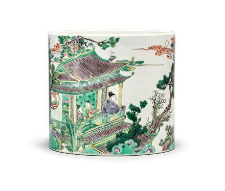 AN EXTRAORDINARY,FINE AND LARGE INSCRIBED FAMILLE-VERTE BRUSHPOT Qing Dynasty, Kangxi Period