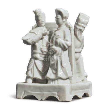 A RARE 'DEHUA' 'ROMANCE OF THE THREE KINGDOMS' GROUPQing Dynasty, Kangxi Period