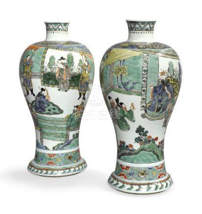 A RARE AND IMPORTANT PAIR OF FAMILLE-VERTE MEIPINGQing Dynasty, Dated Xinsi Year, Corresponding to 1701