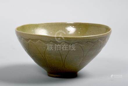 A Korean, late Goreo Dynasty 14c/15c celadon bowl, with lotus petal moulding to the exterior, 6.75in