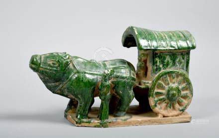 A Chinese green glazed ox cart, 12in w, 6.25in h.