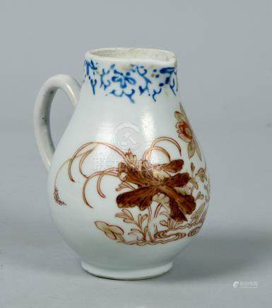 An 18c Chinese porcelain cream jug painted in gilt, brown and iron red with Oriental flowers