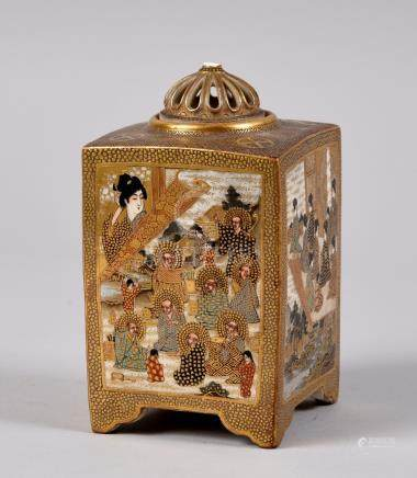 A Japanese Satsuma pot pourri pot of square form with a pierced dome cover (finial missing), the pot