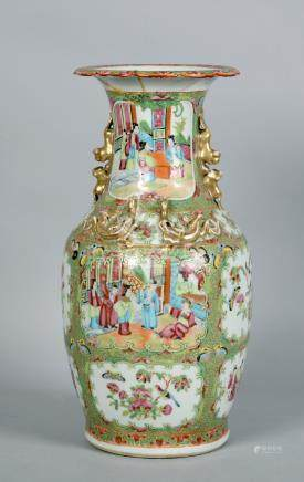 A 19c Cantonese famille rose baluster jar with gilt reptiles to the shoulder and opposing lions to