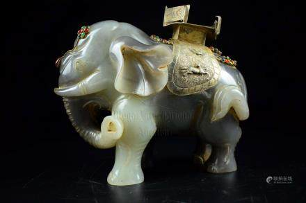 JADE CARVED ELEPHANT WITH GILT DECORATIONS