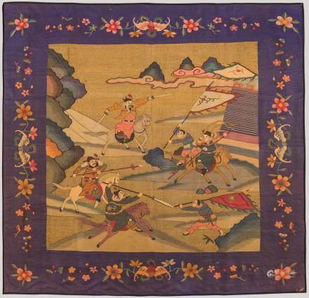 A Kesi Textile Panel with Battle Scene, China.