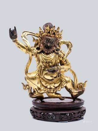 A Gilt Bronze Figure of Mahakala, China 18th Century.