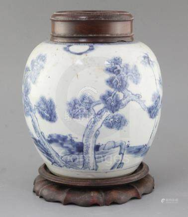 A Chinese 'Three Friends' blue and white ovoid jar, early 18th century, painted with pine, bamboo