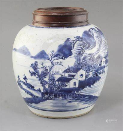 A Chinese blue and white ovoid jar, 18th century, painted with sages in a river landscape scene with