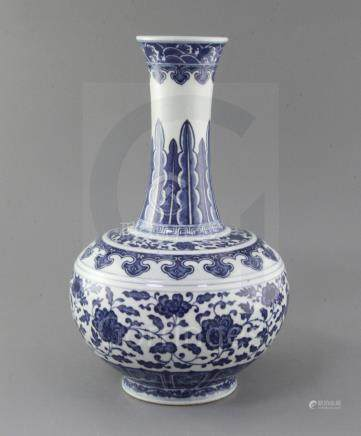 A Chinese blue and white bottle vase, Guangxu six character mark and of the period (1875-1908),