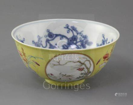 A Chinese yellow ground medallion bowl, Guangxu mark and of the period (1875-1908), painted with