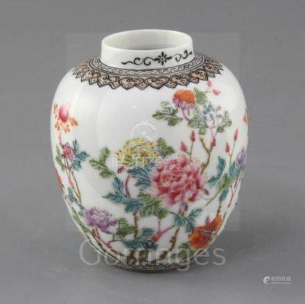 A Chinese famille rose semi-eggshell jar, Guangxu / Republic period, finely painted with peonies and