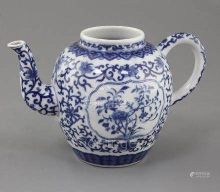A Chinese blue and white ovoid wine pot, Daoguang six character mark and possibly of the period,