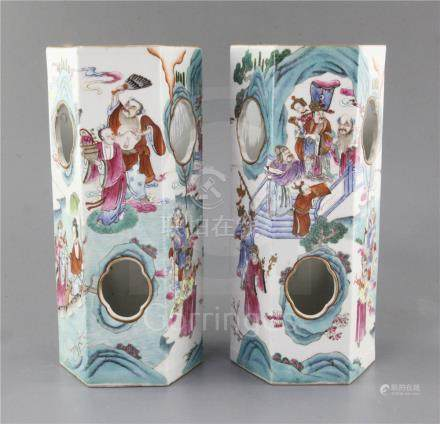 A pair of Chinese famille rose hexagonal hat stands, Xianfeng six character seal marks and of the