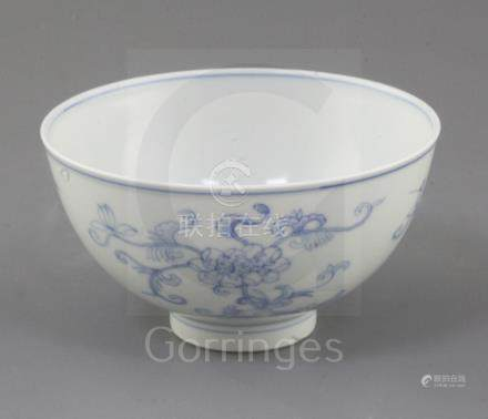 A Chinese blue and white bowl, Daoguang six character seal mark and of the period (1821-50), painted