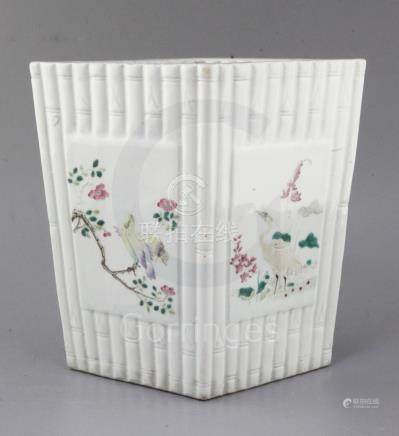 A Chinese famille rose bamboo moulded planter, Republic period, of tapering diamond section, the