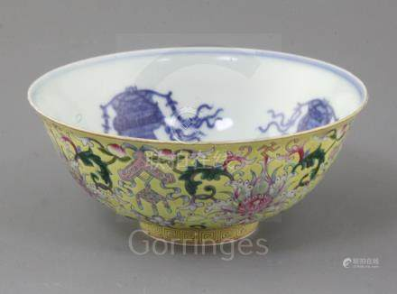 A Chinese yellow ground bowl, Jiaqing six character seal mark and of the period (1796-1820),