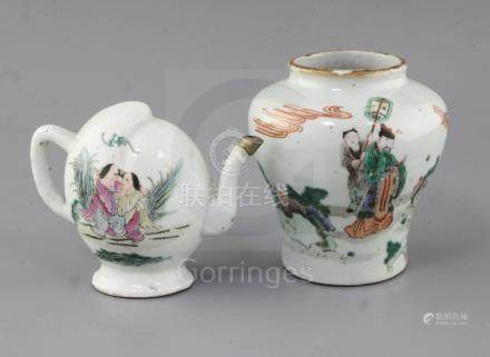 A Chinese famille verte baluster jar and a similar peach shaped wine pot, Qing dynasty, the jar