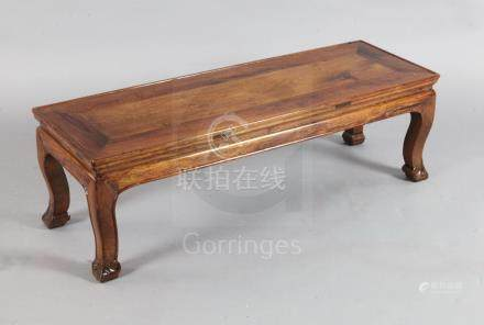 A Chinese huang huali kang table or bench, Qing dynasty with later alterations, the rectangular tray