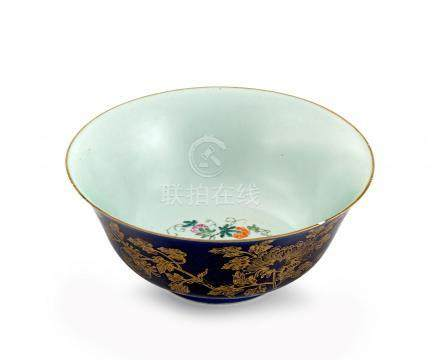 A Chinese powder-blue-ground and gilt bowl, Qing Dynasty, late 18th/early 19th century