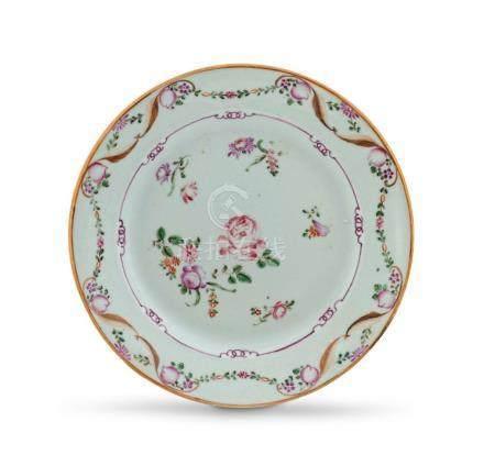 A Chinese Export famille-rose plate, Qing Dynasty, Qianlong period, 1736-1795
