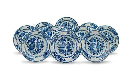 A set of ten Chinese Export blue and white dishes, Qing Dynasty, Qianlong period, 1735-1796