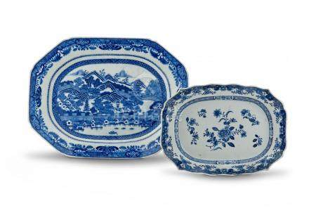 A Chinese Export blue and white octagonal dish, Qing Dynasty, 18th century